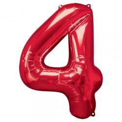 Ballon Rouge chiffre 4