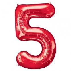 Ballon Rouge chiffre 5