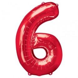 Ballon Rouge chiffre 6