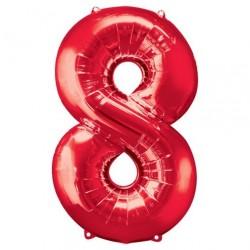 Ballon Rouge chiffre 8
