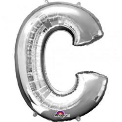 Ballon argenté lettre C