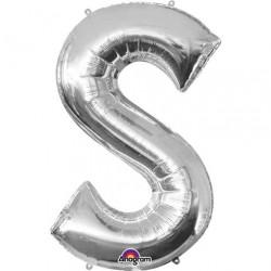 Ballon argenté lettre S