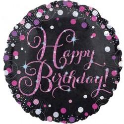 Ballon Alu Happy birthday- Pétillant Rose
