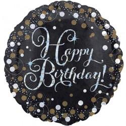 Ballon Alu Happy birthday- Pétillant Or