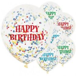 "Ballons latex Confettis Happy birthday 12"" paquet de 6"