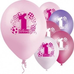 "Ballons latex  12"" 1an- ROSE paquet de 8"