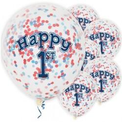 """Ballons latex  12"""" 1an- Confettis Bleu paquet de 6"""