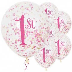 "Ballons latex  12"" 1an- Confettis Rose paquet de 6"