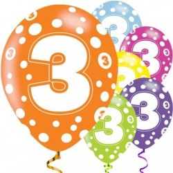 "Ballons latex 11"" 3ans paquet de 6"