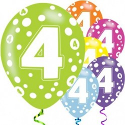 "Ballons latex 11"" 4ans paquet de 6"