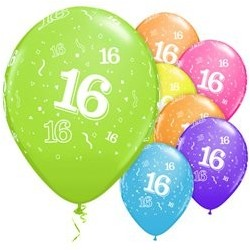 "Ballons latex 11"" 16ans paquet de 6"