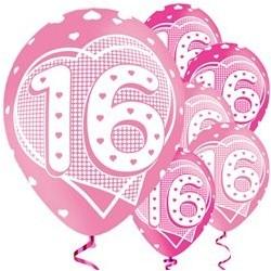 """Ballons latex 11"""" 16ans - Coeur paquet de 6"""