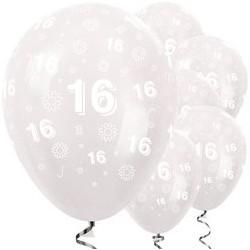 "Ballons latex 12"" 16ans - Fleur clair paquet de 25"