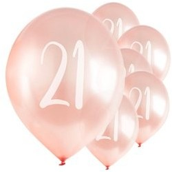 "Ballons Rose nacré latex 11"" 21ans paquet de 5"