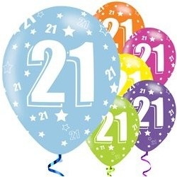 "Ballons latex 11"" 21ans - Assortis paquet de 6"
