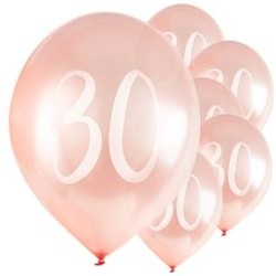 "Ballons Rose nacré latex 11"" 30ans paquet de 5"