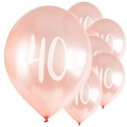 "Ballons Rose nacré latex 11"" 40ans paquet de 5"