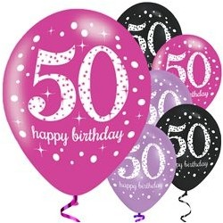 "Ballons Happy birthday - Mix Rose 11"" 50ans paquet de 6"
