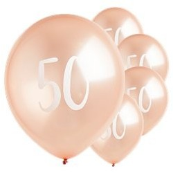 "Ballons Rose nacré latex 11"" 50ans paquet de 5"