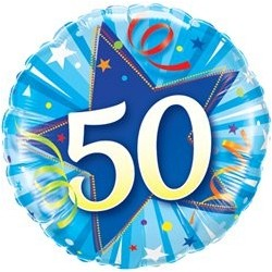 Ballon Happy birthday Bleu - Étoile 50ans