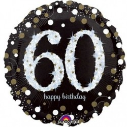 Ballon Happy birthday Or - 60ans