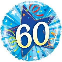 Ballon Happy birthday Bleu - Étoile 60ans