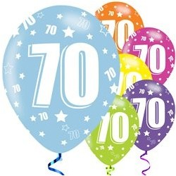 "Ballons latex 11"" 70ans - Assortis paquet de 6"