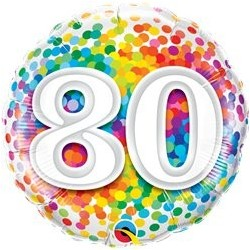 Ballon Happy birthday Multicolore 80ans