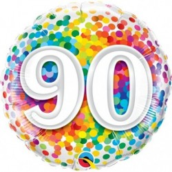 Ballon Happy birthday Multicolore 90ans