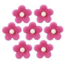 Décoration en sucre Fleur fushia 7 pièces