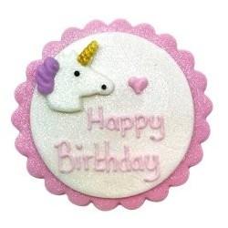 Décoration en sucre Happy birthday licorne