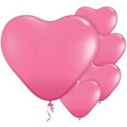 """5 Ballons Cœur Rose 11""""ou 28cm Latex"""