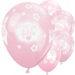 "Ballon Naissance fille 11"" ou 28 cm Latex"