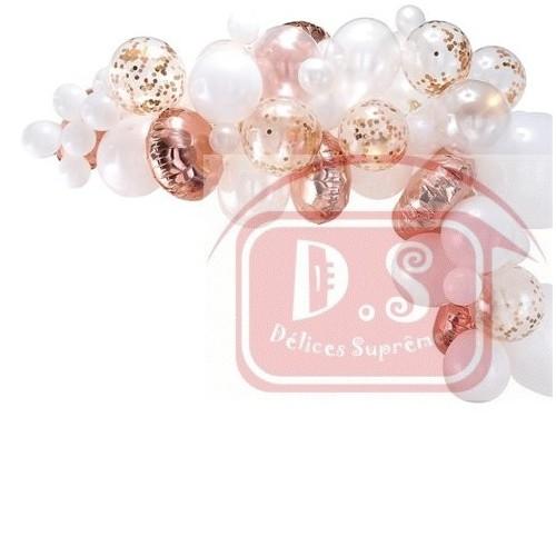 Arc de 70 ballons Blanc-Rose Or