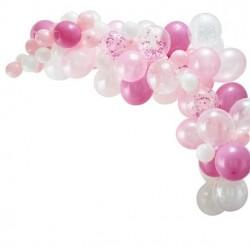 Arc de 70 ballons Blanc-Rose