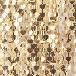 Rideau de feuilles en coeur dorées