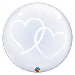 """Ballon Bubble coeurs enlacés 24"""" (61cm)"""