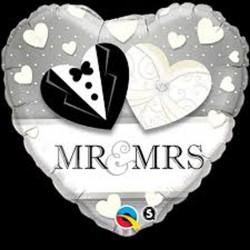 """Ballon Alu - mariage Mr et Mme 18 """"(45 cm)"""