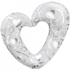 Ballon Alu - cœur en filigrane blanc