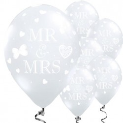 "Ballons transparents Mr et Mrs 11"" 28cm 5pcs"