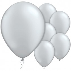5 Ballons métallique Argent 28cm