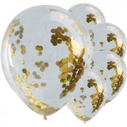 """5 Ballons à confetti en Or  30cm (12)"""""""