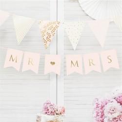 Bannières roses pastel Mr & Mrs - 85 cm