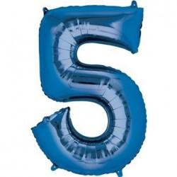 Ballon Bleu chiffre 5