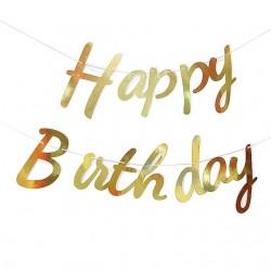 Bannière  Happy Birthday Dorée 62 cm