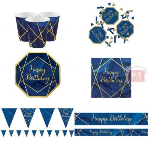 Kit anniversaire bleu marine 8 personnes