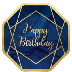 Assiettes Happy birthday bleu marine 8 personnes