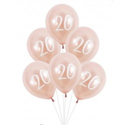 "Ballons Rose nacré latex 11"" 20ans paquet de 6"