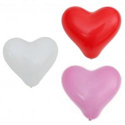 10 ballons cœur rose - blanc - rouge 26cm
