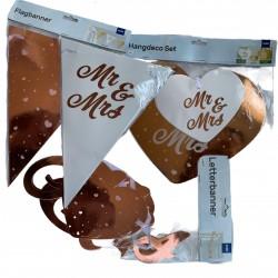 Kit bannières Mr & Mrs en rose or